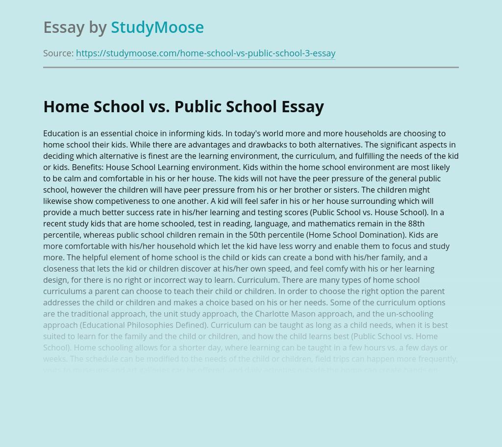 Home School vs. Public School
