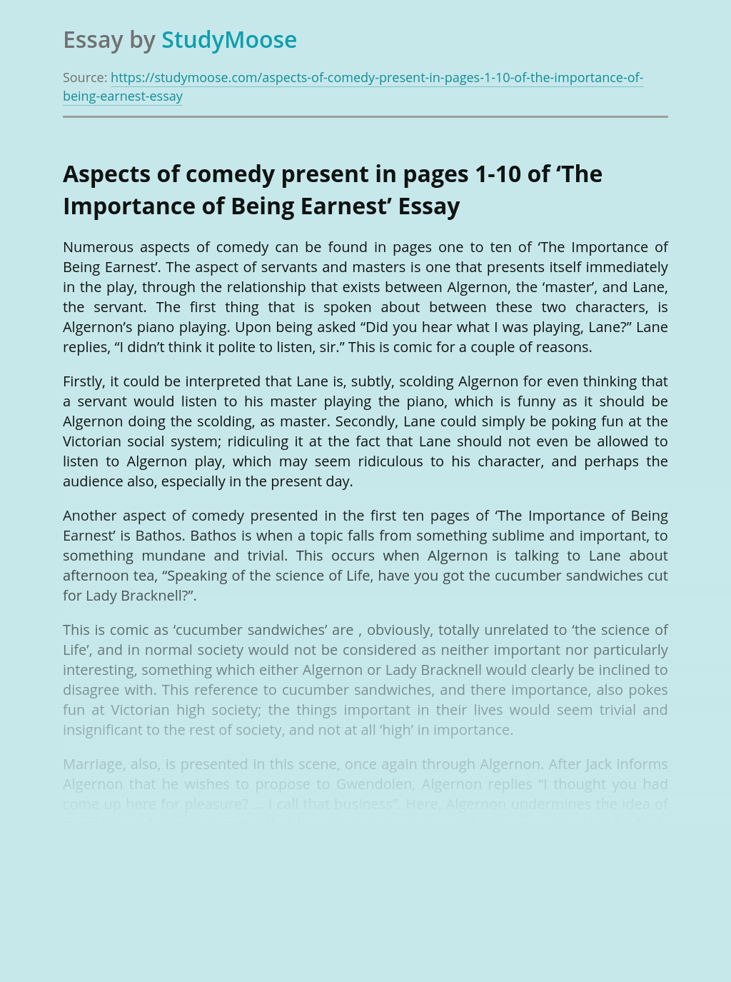 Aspects of comedy present in pages 1-10 of 'The Importance of Being Earnest'