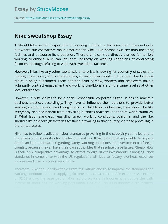 Nike Sweatshop Manufacturing