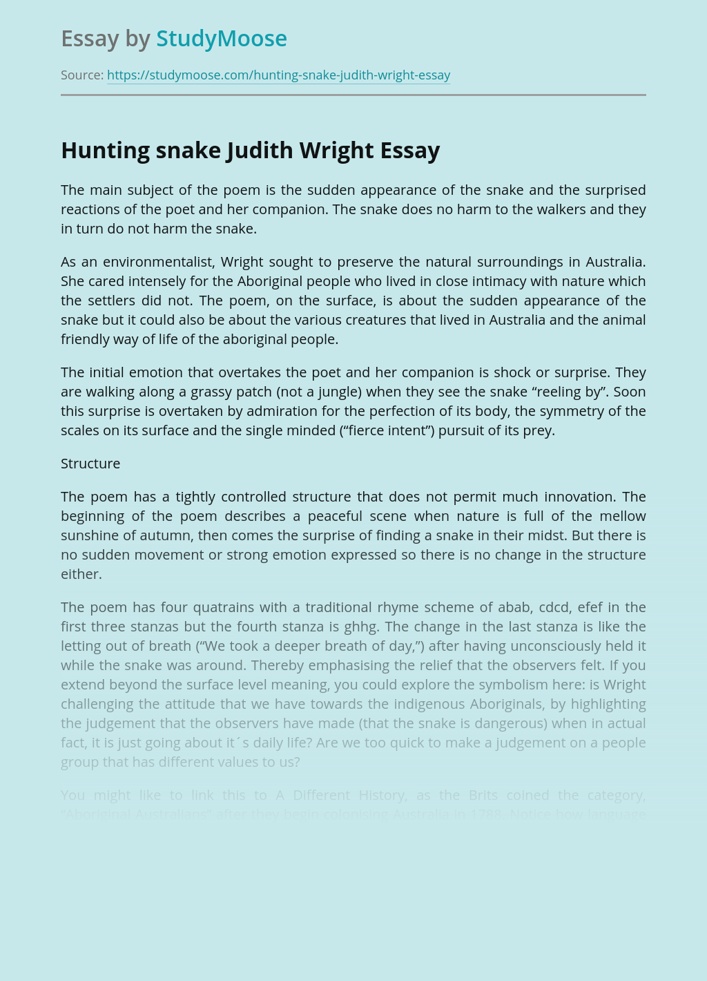 Hunting snake Judith Wright
