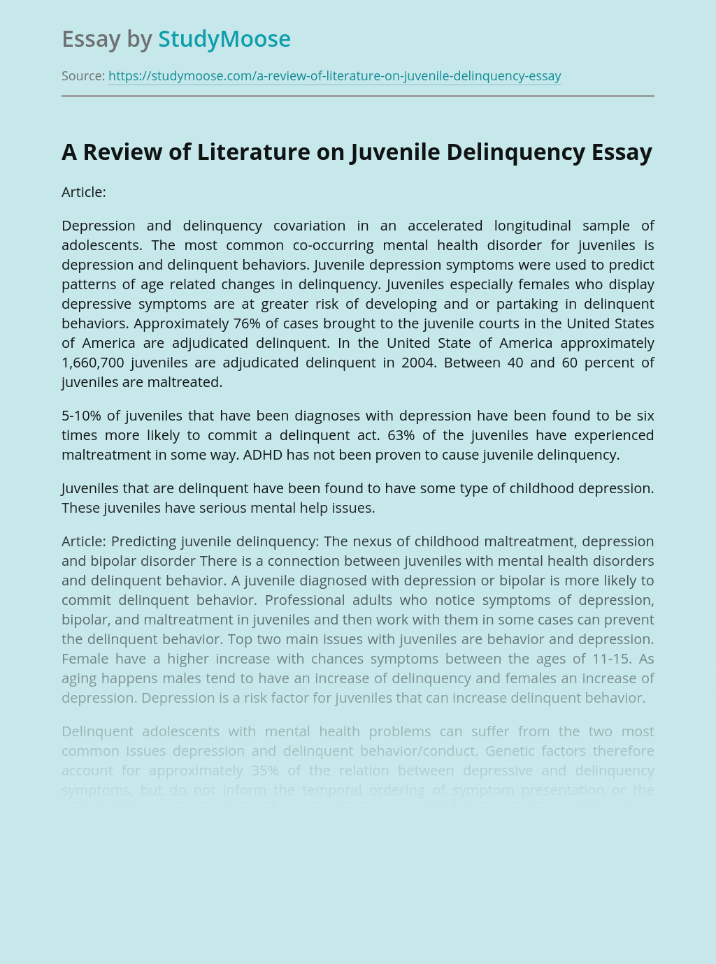 A Review of Literature on Juvenile Delinquency