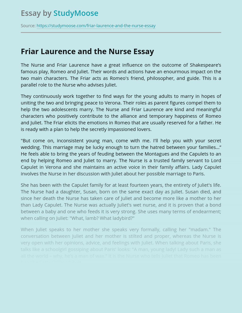 Friar Laurence and the Nurse