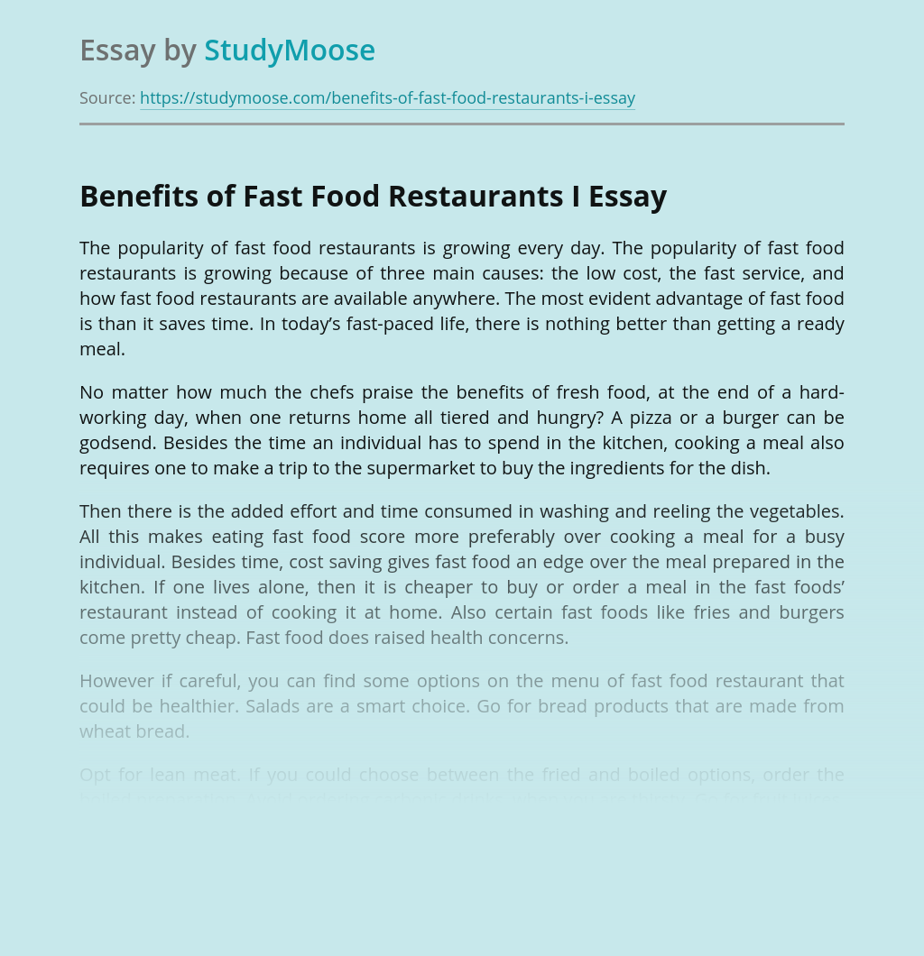 Benefits of Fast Food Restaurants I