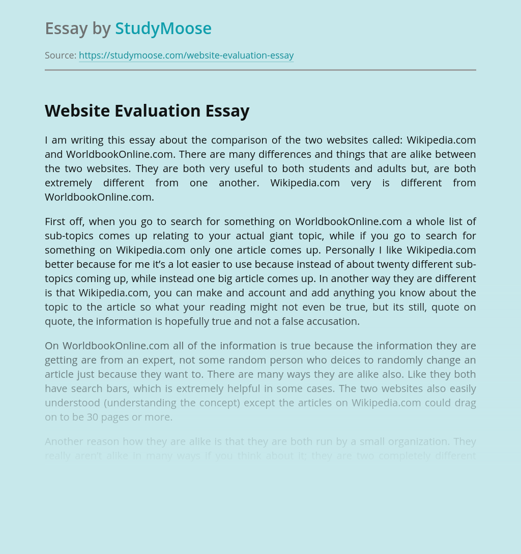 Website Evaluation and Comparison