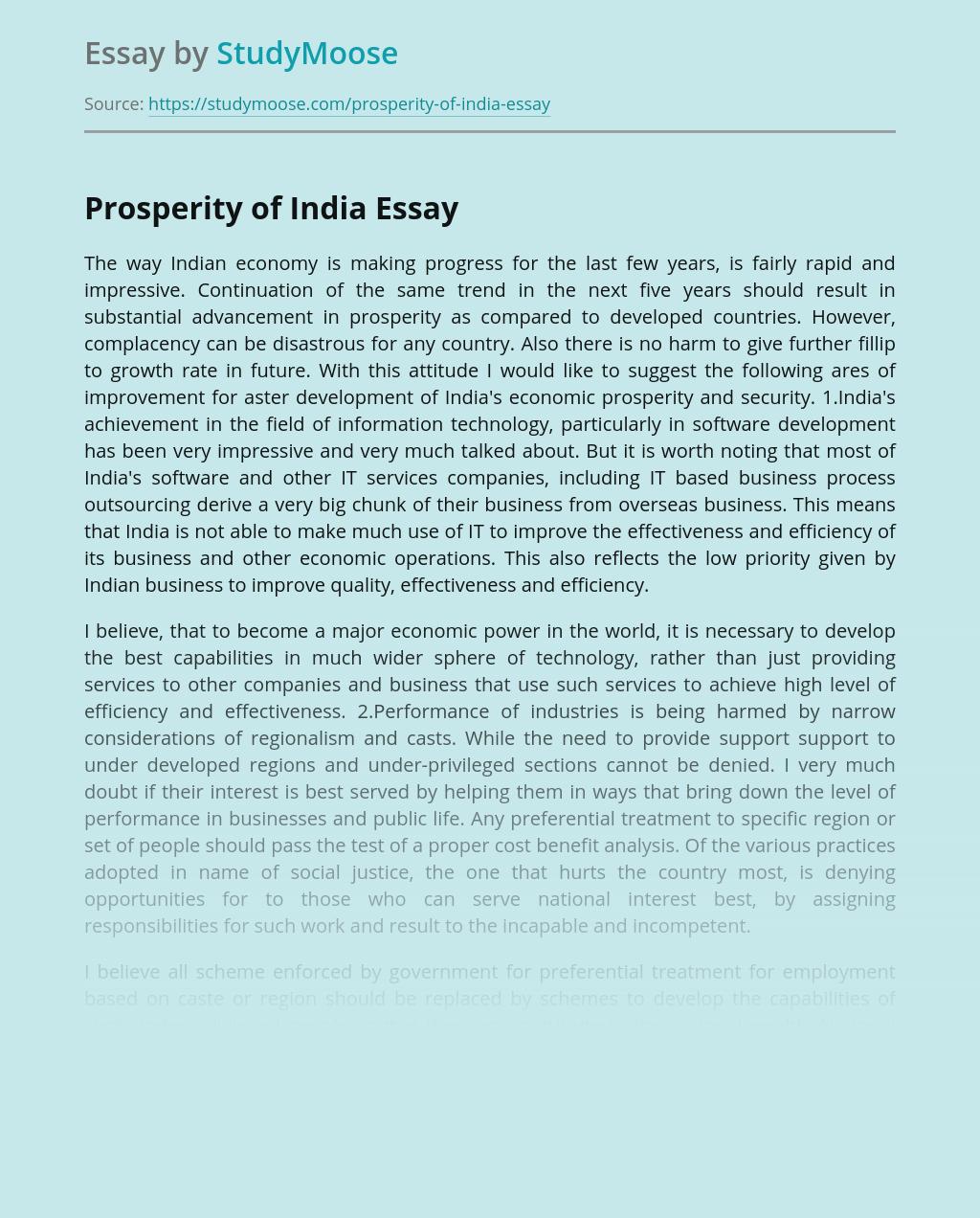 Prosperity of India