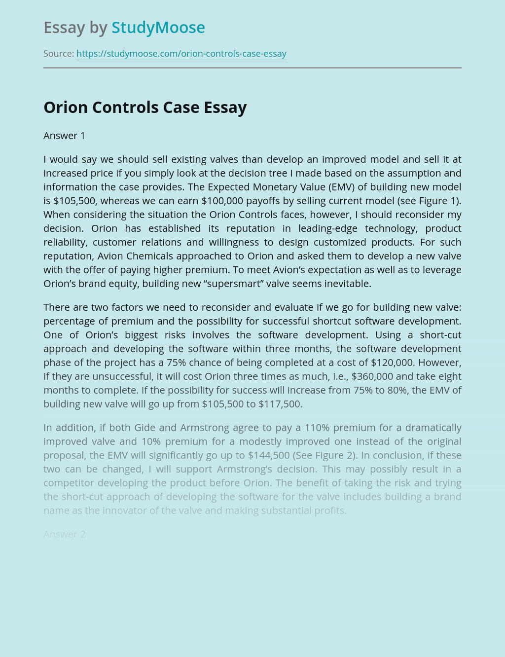 Orion Controls Case Solution And Analysis