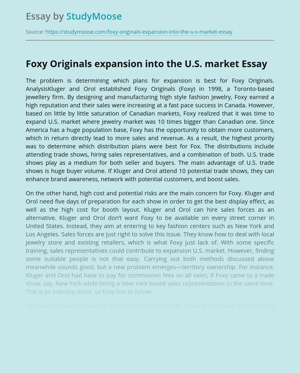 Foxy Originals Expansion Into the U.S. Market