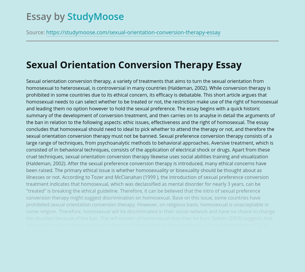 Sexual Orientation Conversion Therapy