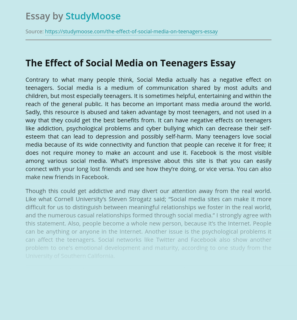 The Effect of Social Media on Teenagers