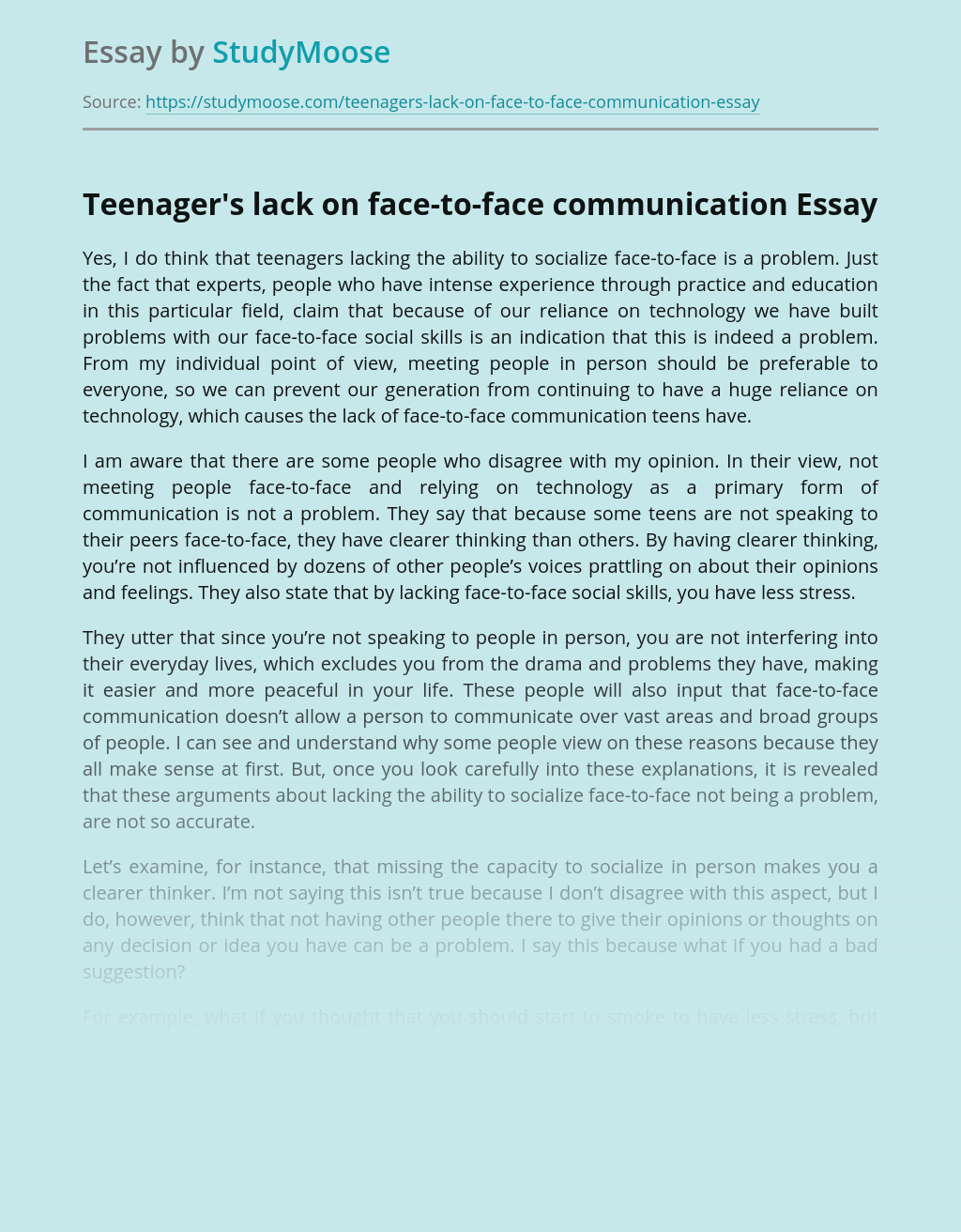 Teenager's lack on face-to-face communication