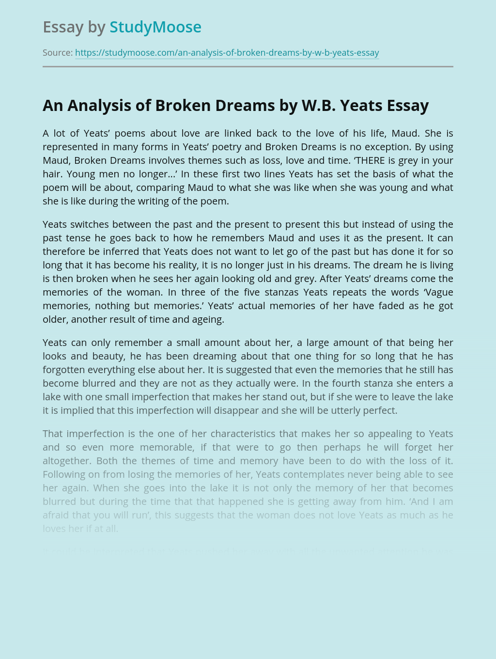An Analysis of Broken Dreams by W.B. Yeats
