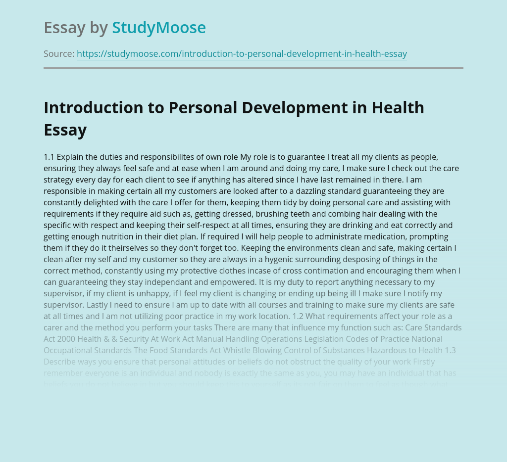 Introduction to Personal Development in Health