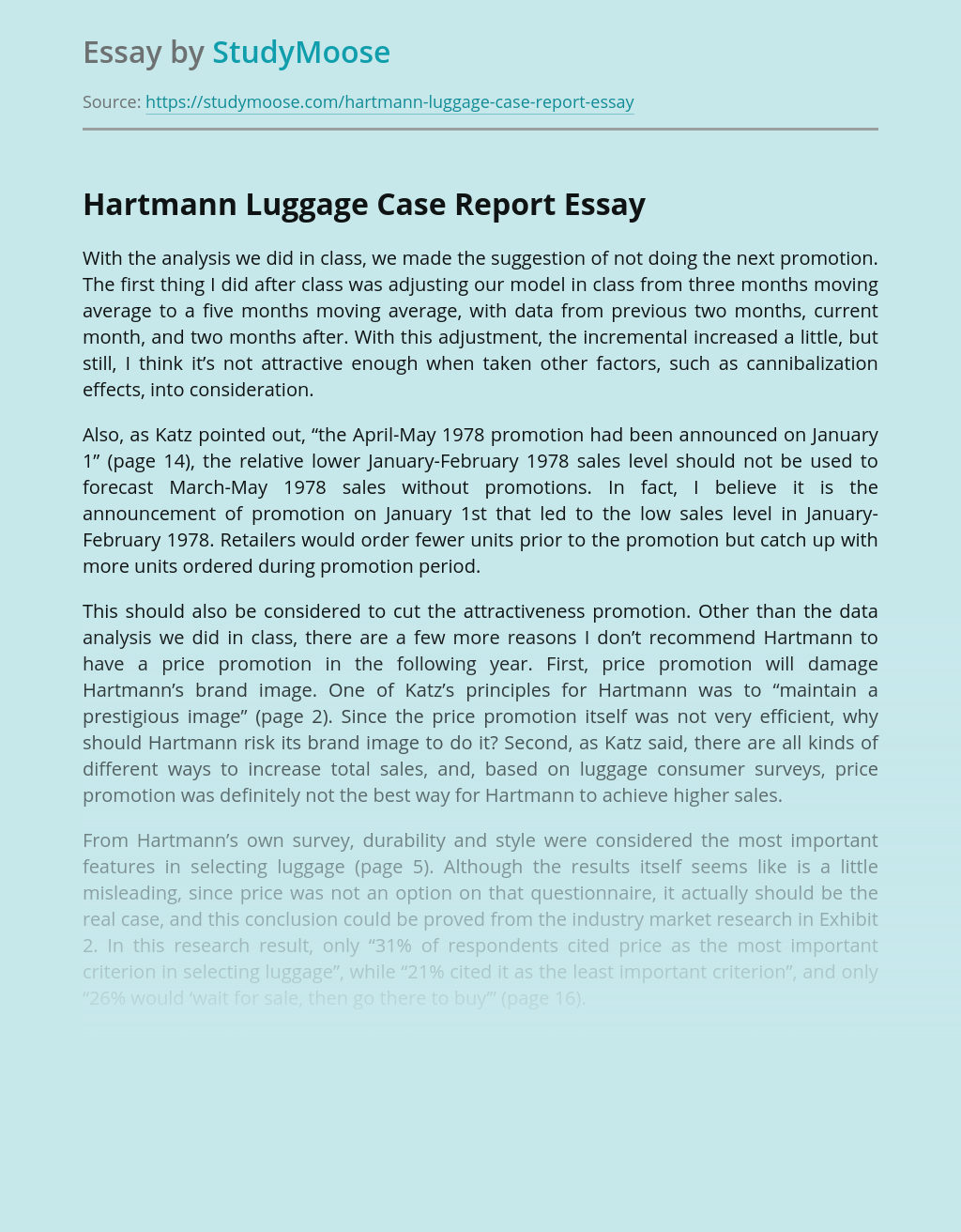 Report on Hartmann Luggage Advertising