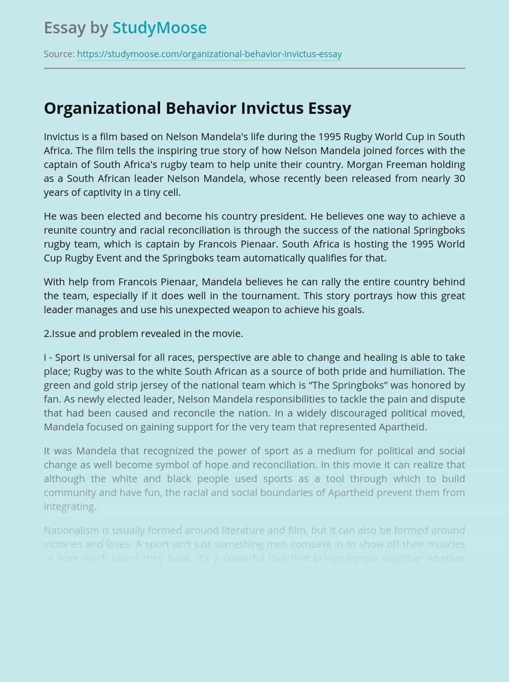 Organizational Behavior Invictus