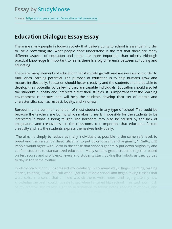Education Dialogue Essay