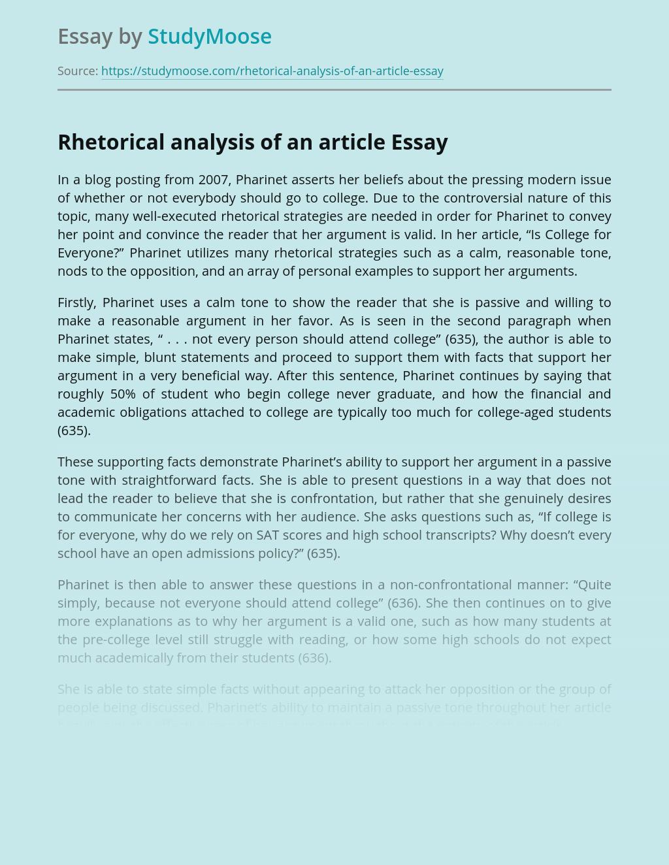 Rhetorical analysis of an article