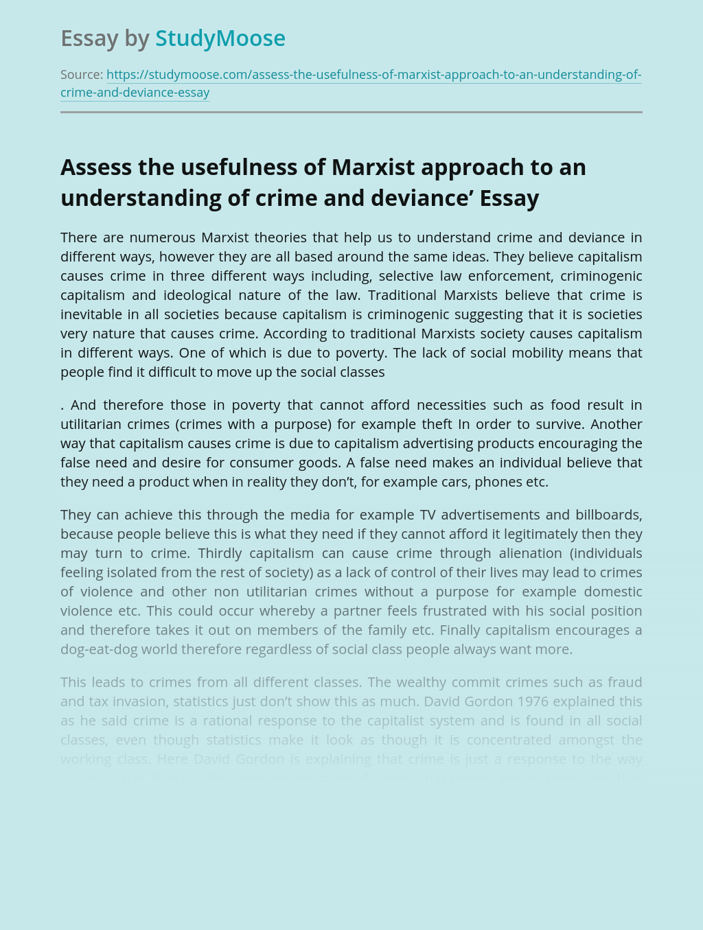 Assess the usefulness of Marxist approach to an understanding of crime and deviance'