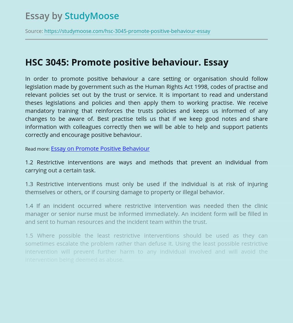 Promotion of Positive Behavior