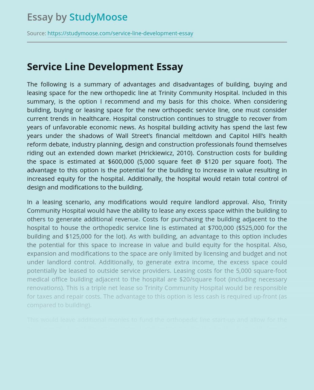 Service Line Development for Trinity Community Hospital