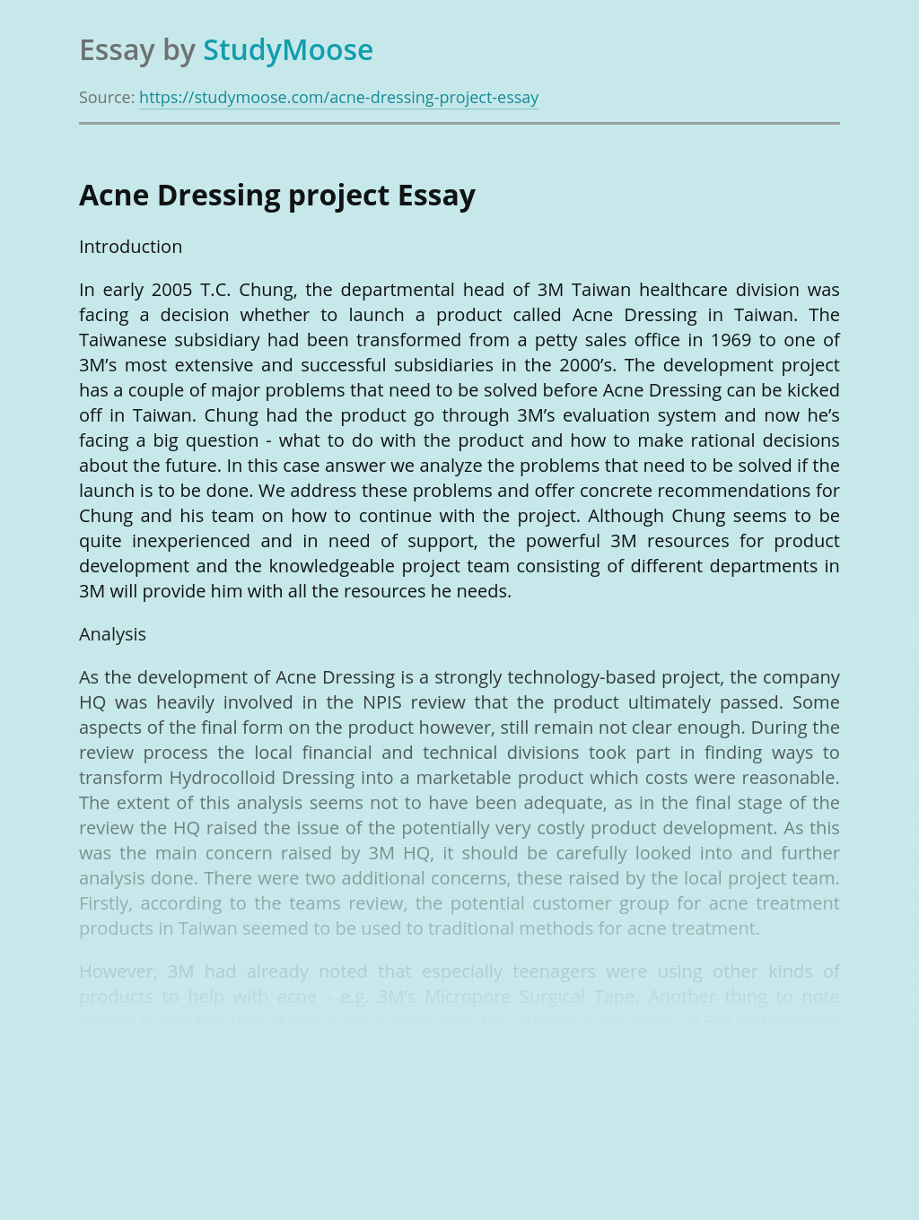 Marketing Plan for Acne Dressing Project