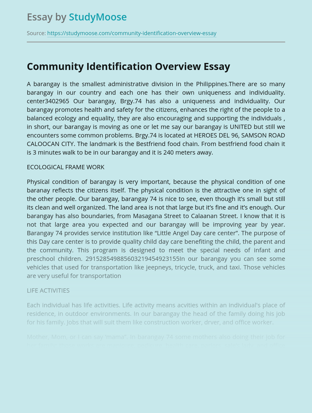 Community Identification Overview