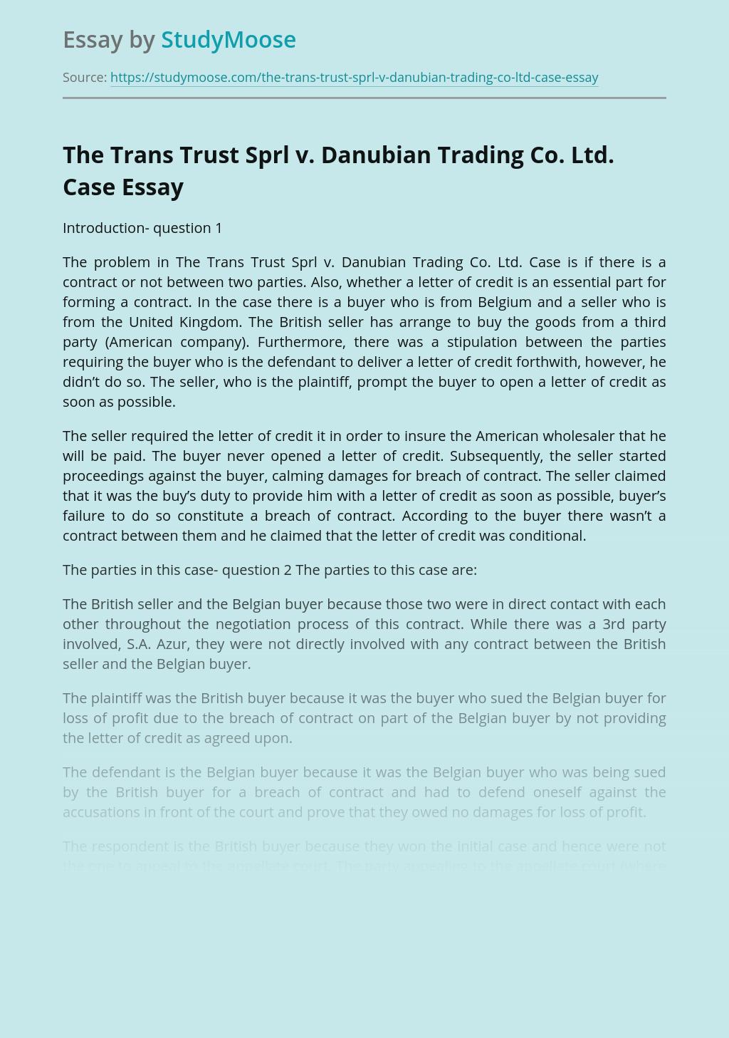 The Trans Trust Sprl v. Danubian Trading Co. Ltd. Case