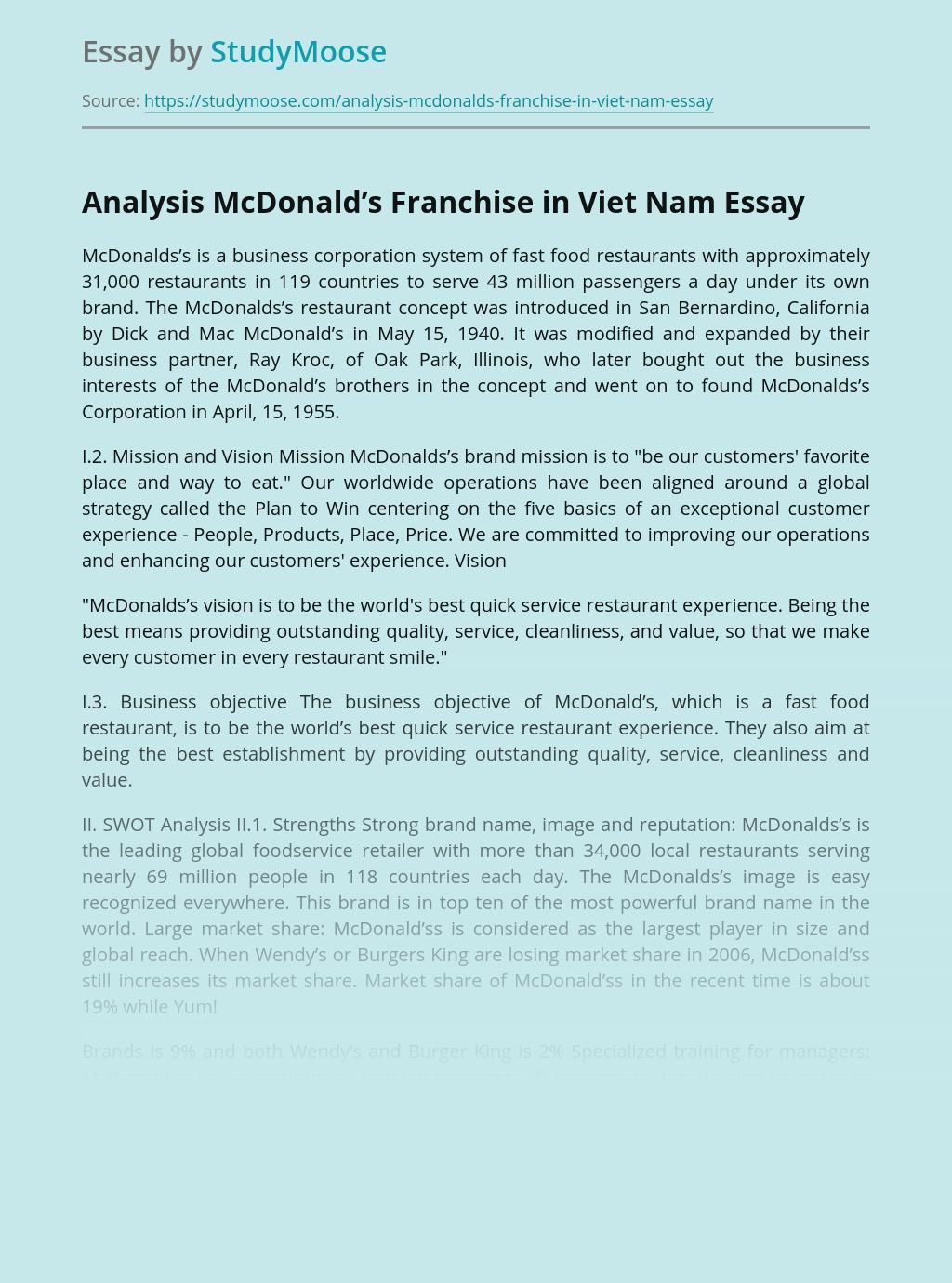 Analysis McDonald's Franchise in Viet Nam