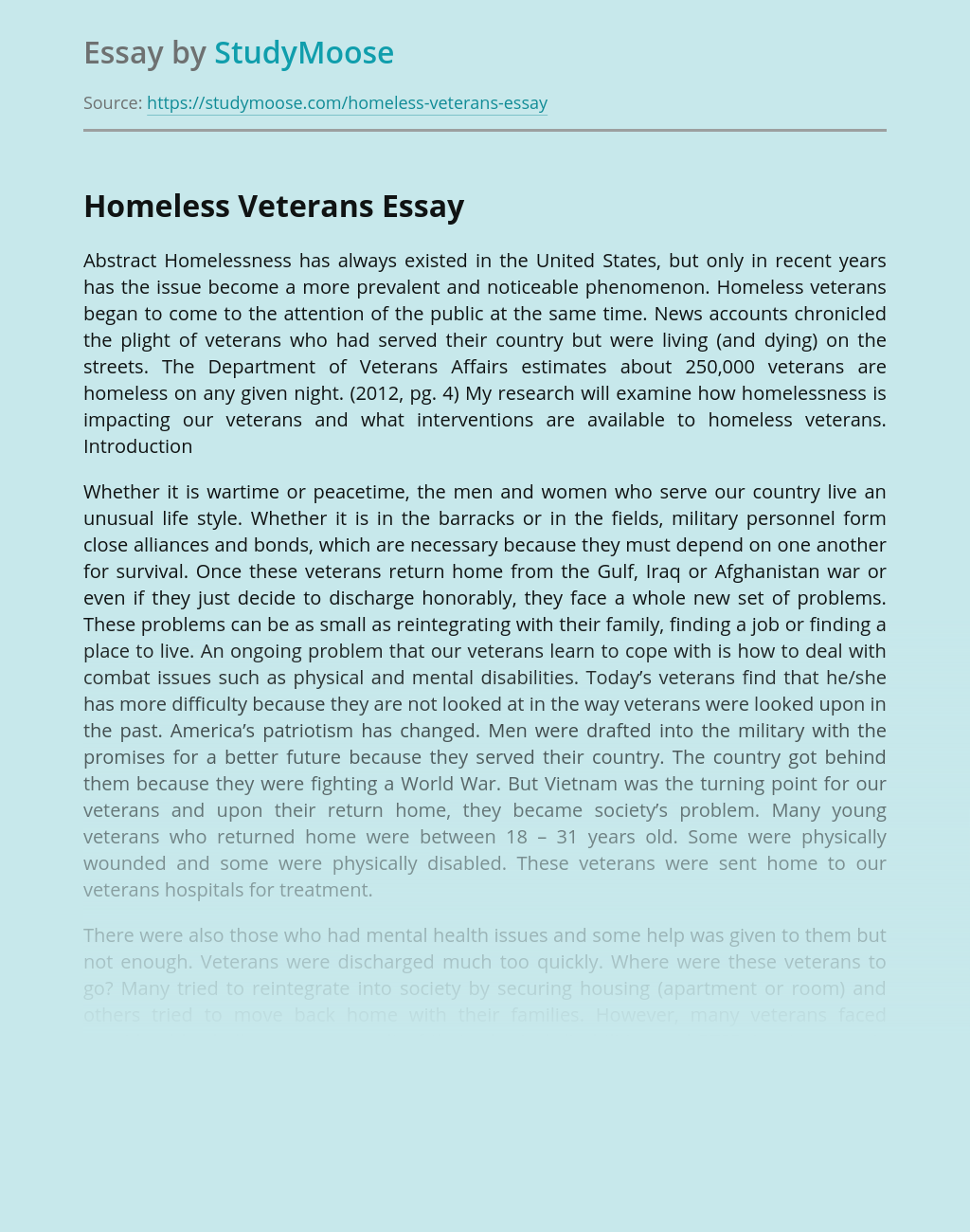 Free essays on homeless veterans research case