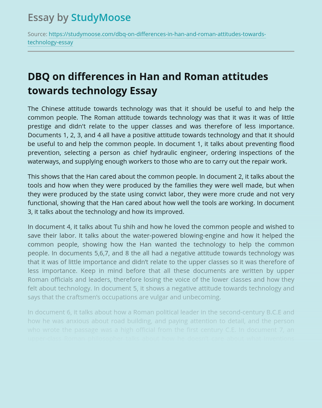 DBQ on differences in Han and Roman attitudes towards technology