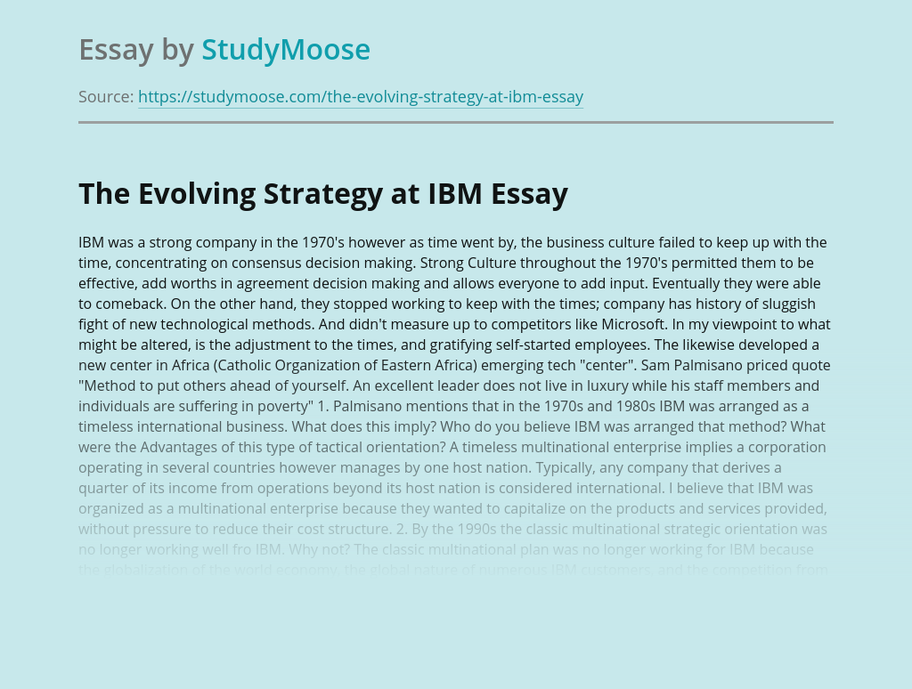 The Evolving Strategy at IBM