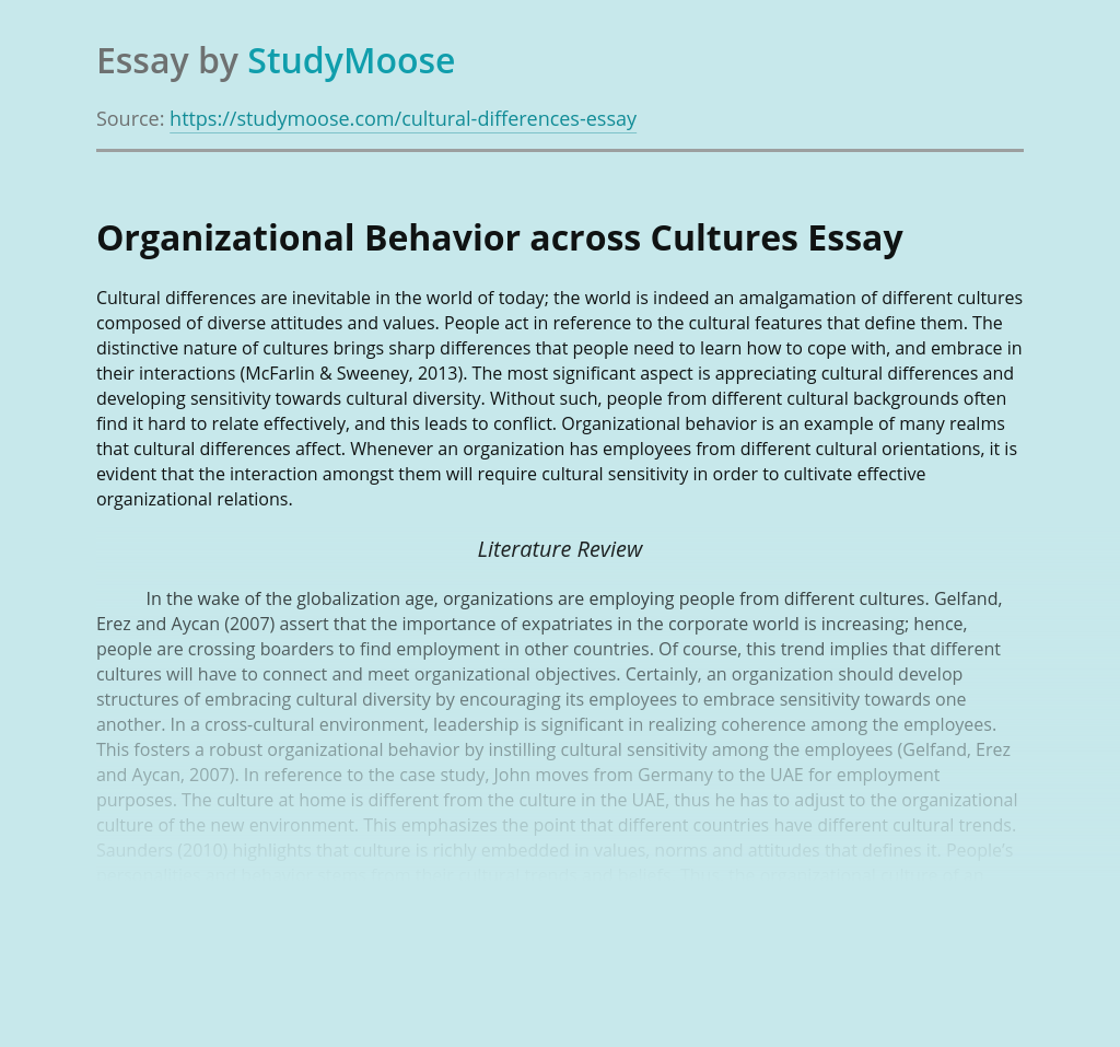 Organizational Behavior across Cultures