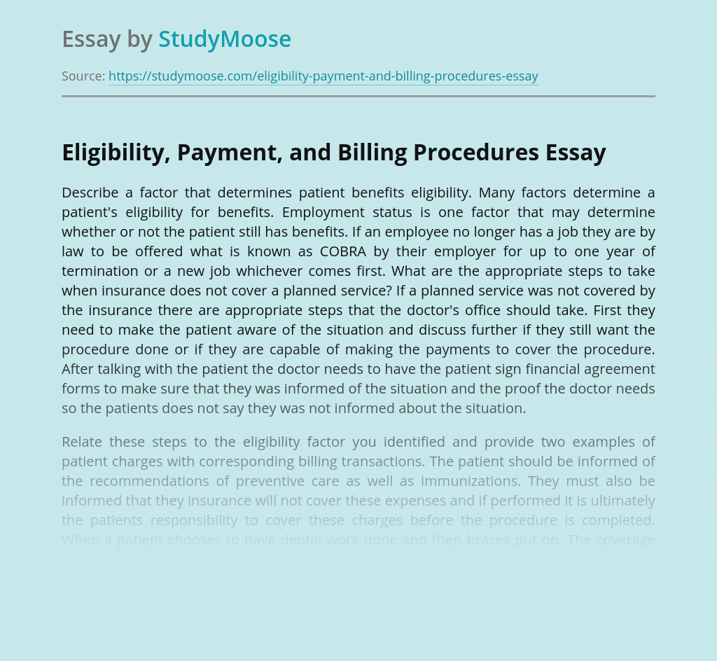 Eligibility, Payment, and Billing Procedures