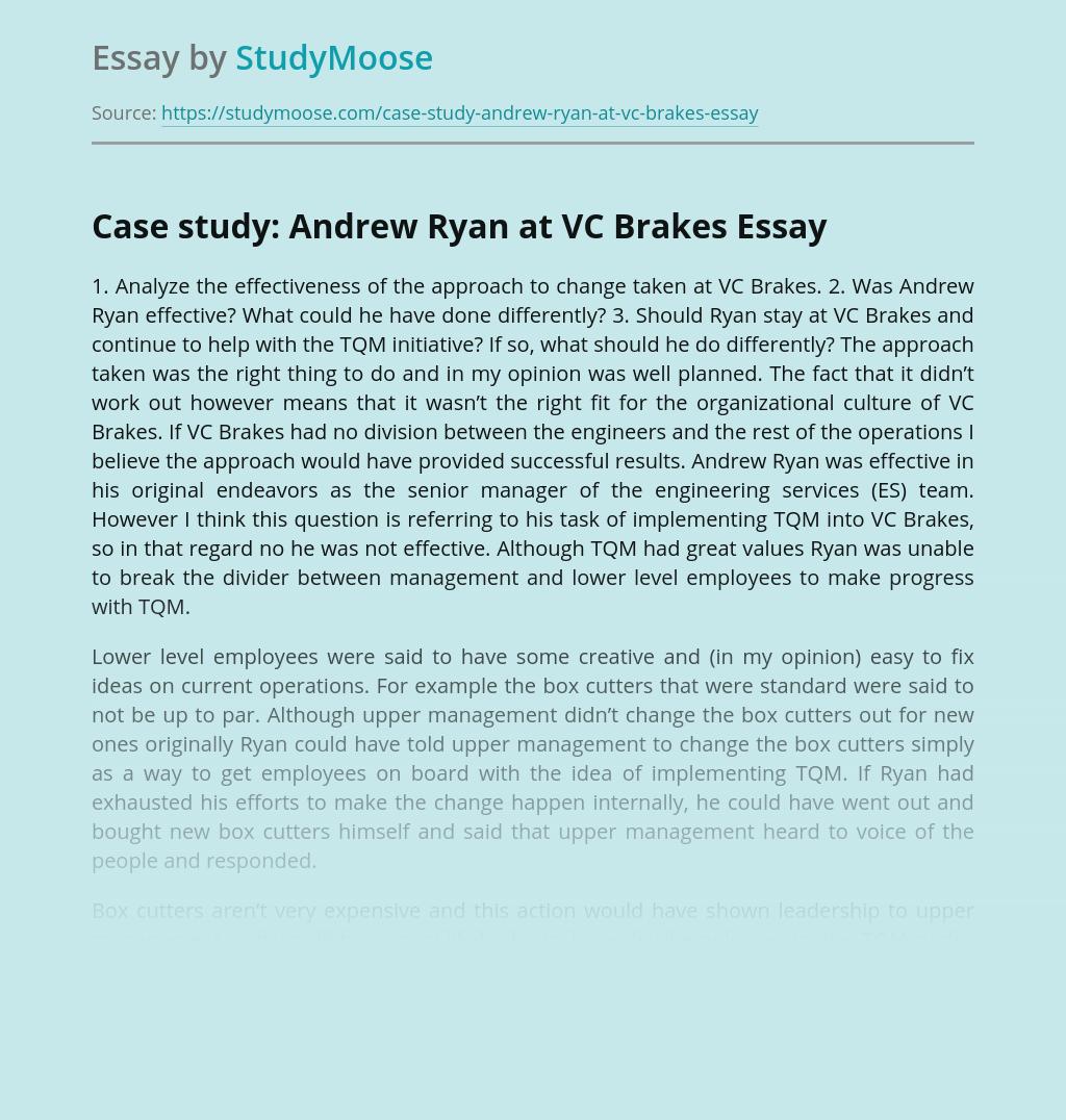 Case study: Andrew Ryan at VC Brakes