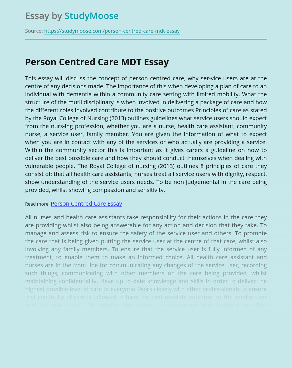 Person Centred Care MDT