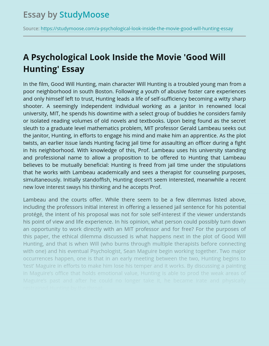 A Psychological Look Inside the Movie'Good Will Hunting'