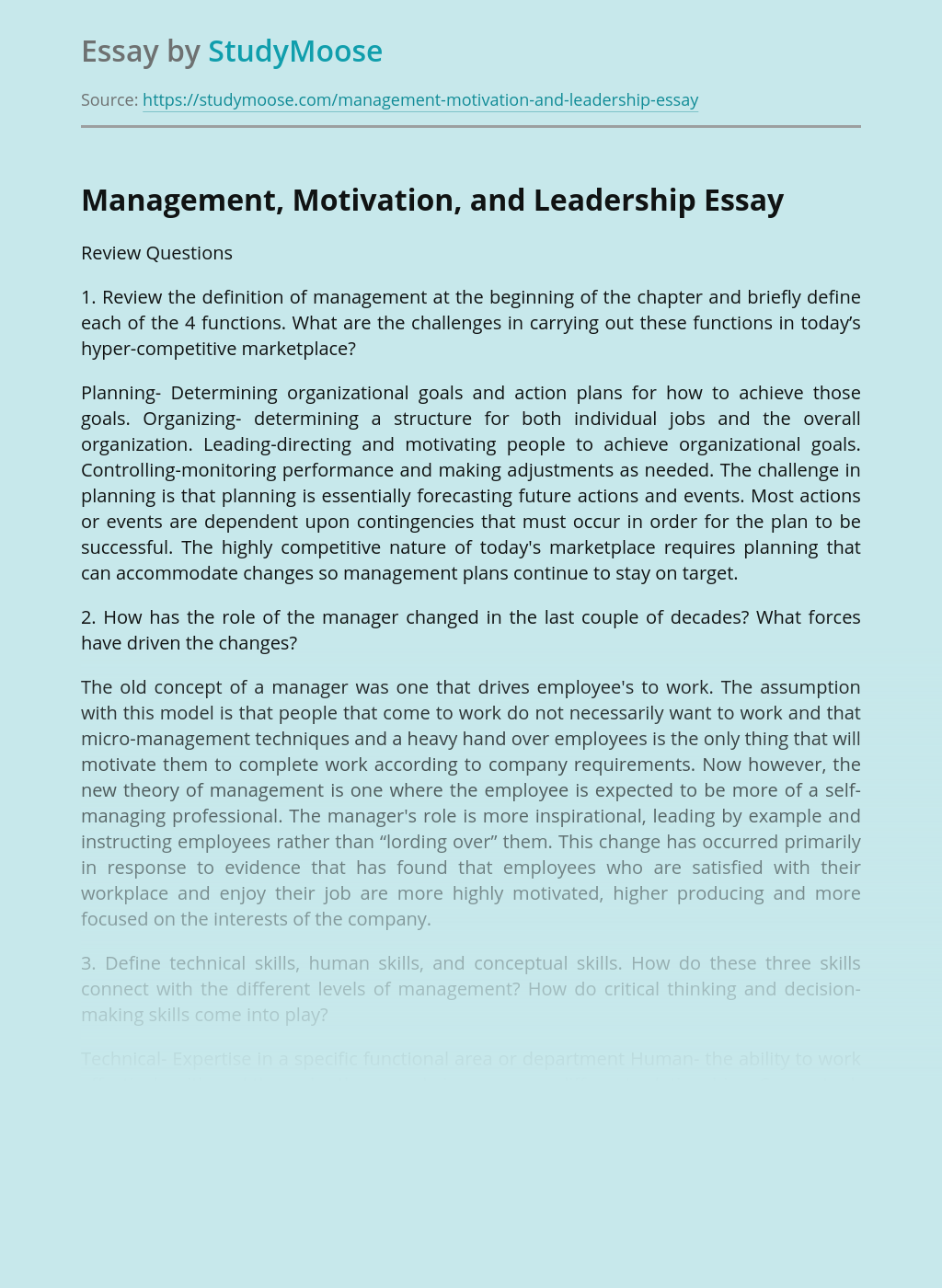 Management, Motivation, and Leadership