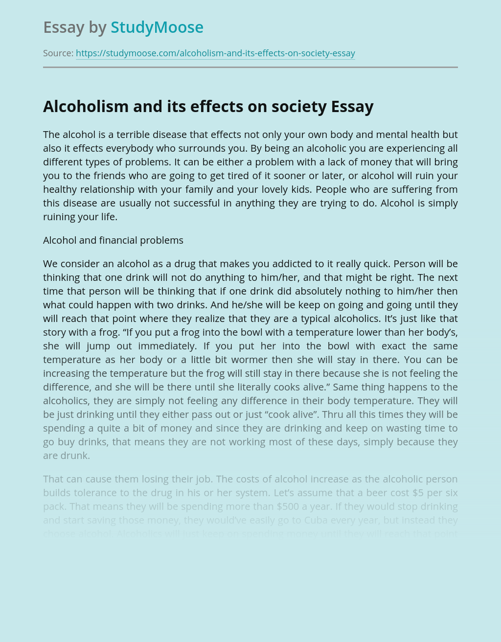 Alcoholism and its effects on society