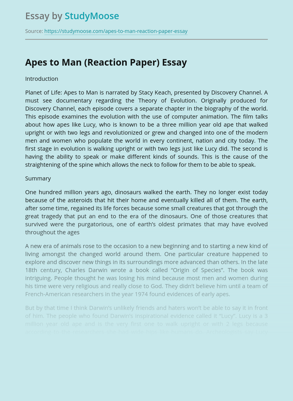 Apes to Man (Reaction Paper)