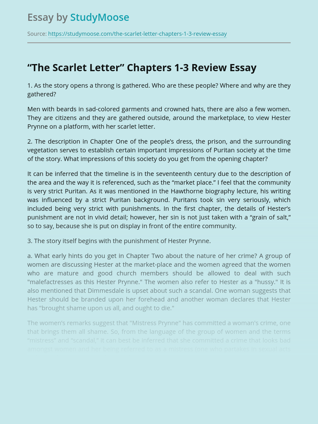 """The Scarlet Letter"" Chapters 1-3 Review"