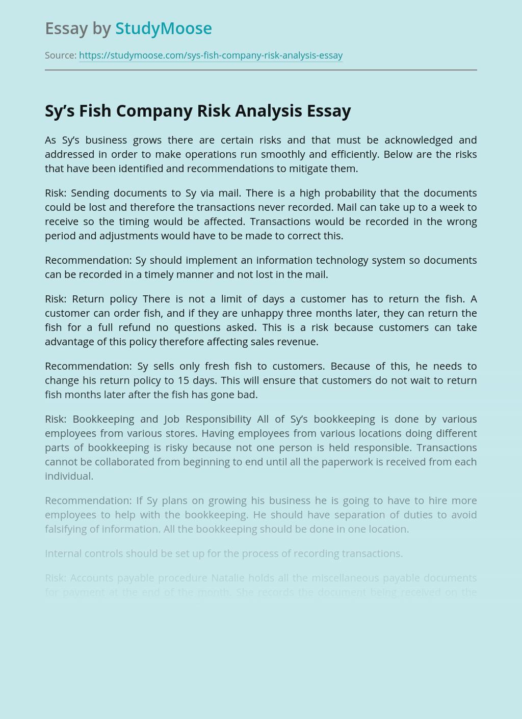 ?Sy's Fish Company Risk Analysis