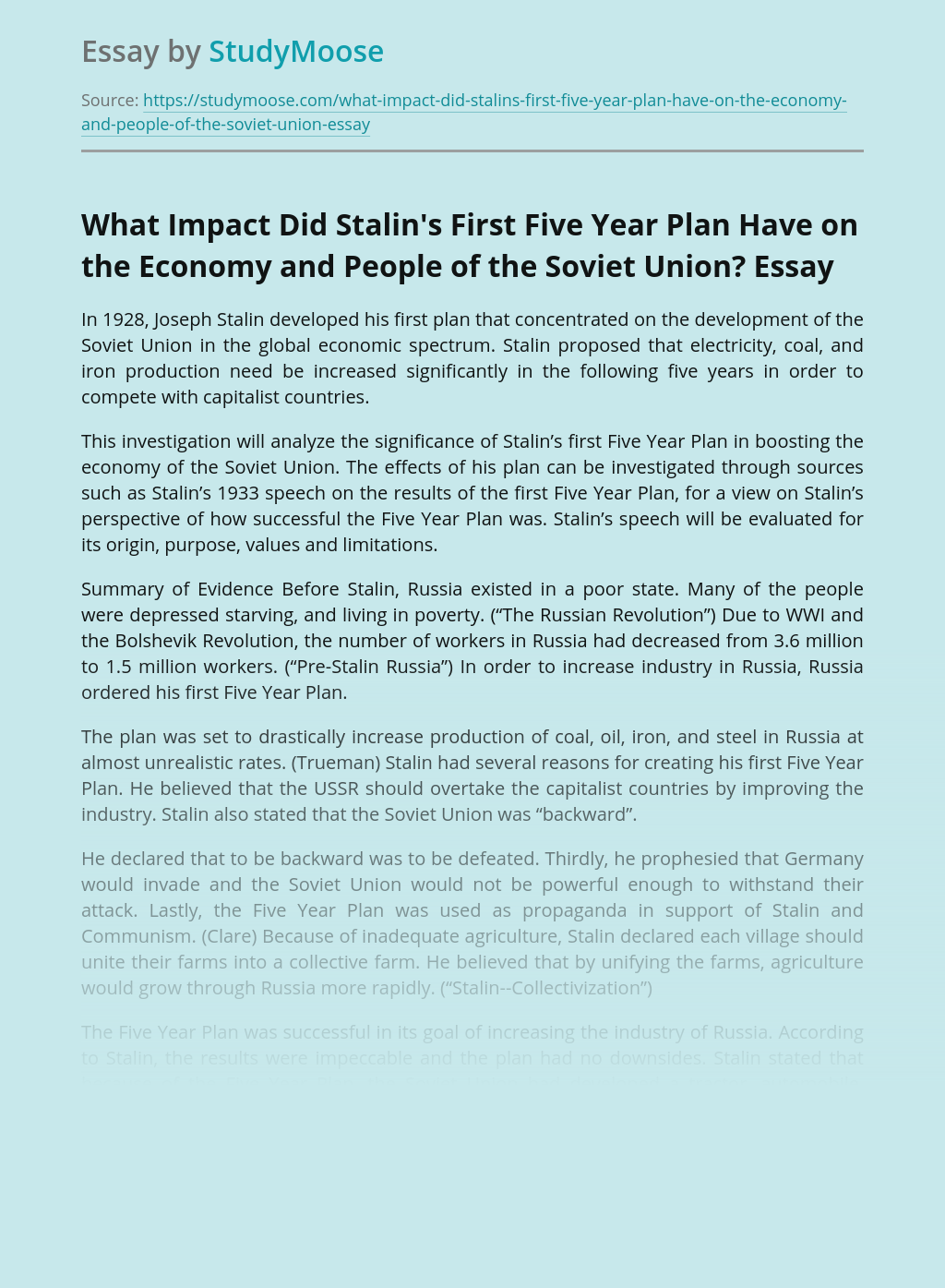 What Impact Did Stalin's First Five Year Plan Have on the Economy and People of the Soviet Union?