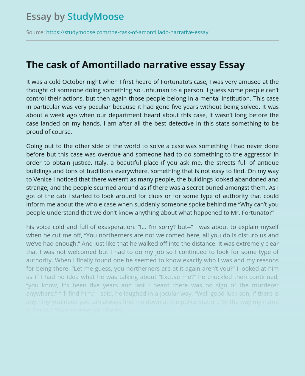 The cask of Amontillado narrative essay