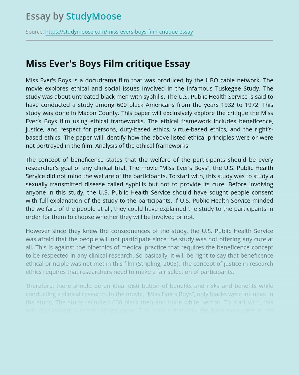Miss Ever's Boys Film critique