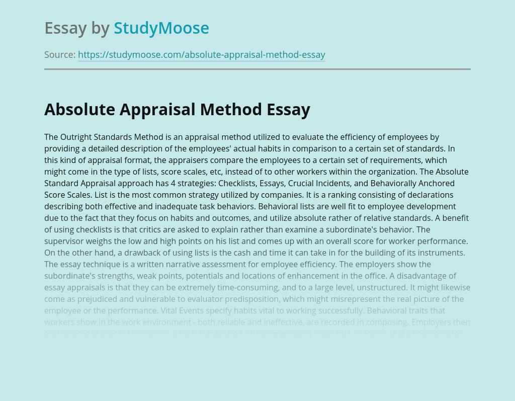 Absolute Appraisal Method