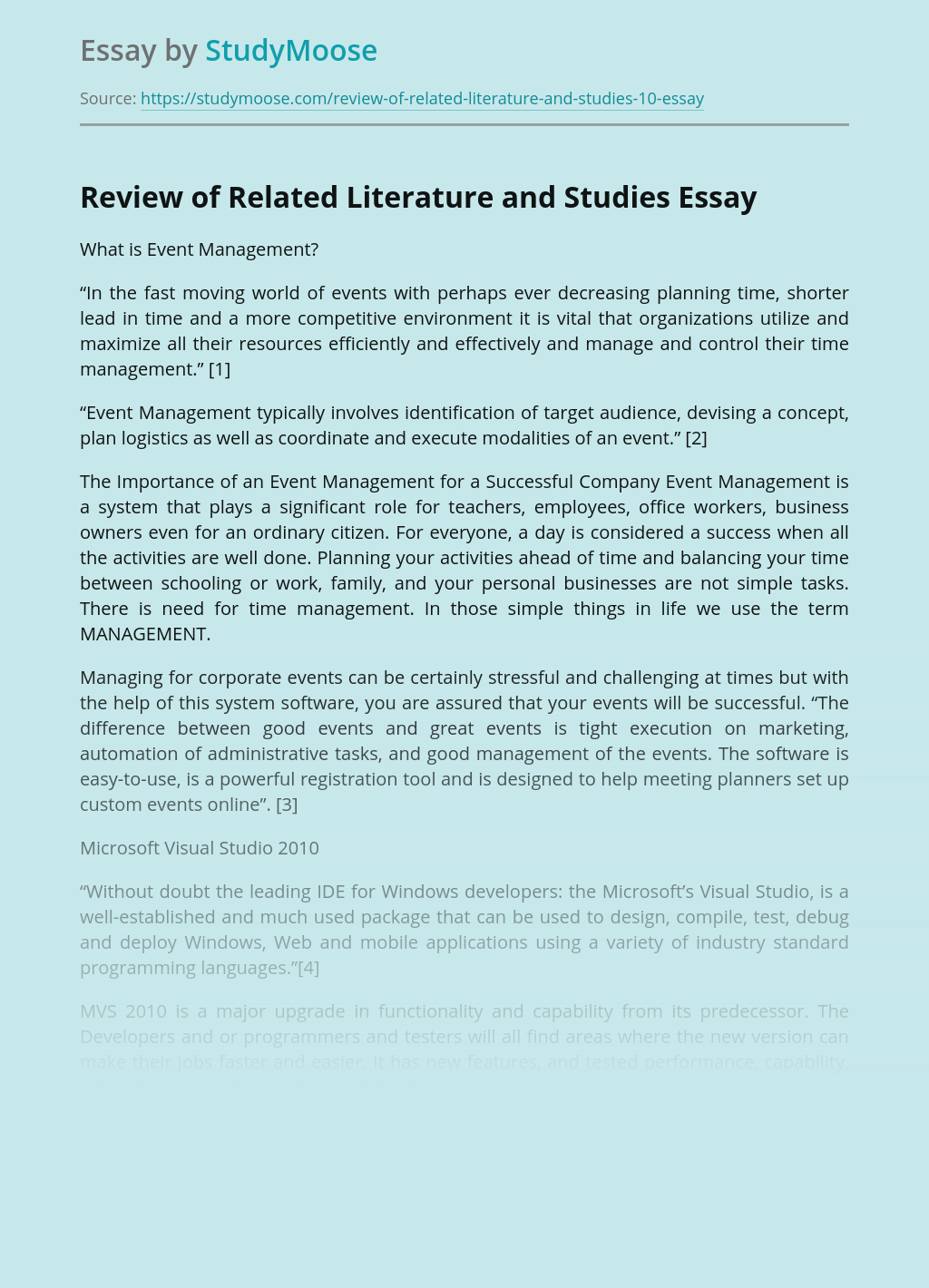 Review of Related Literature and Studies in Event Management