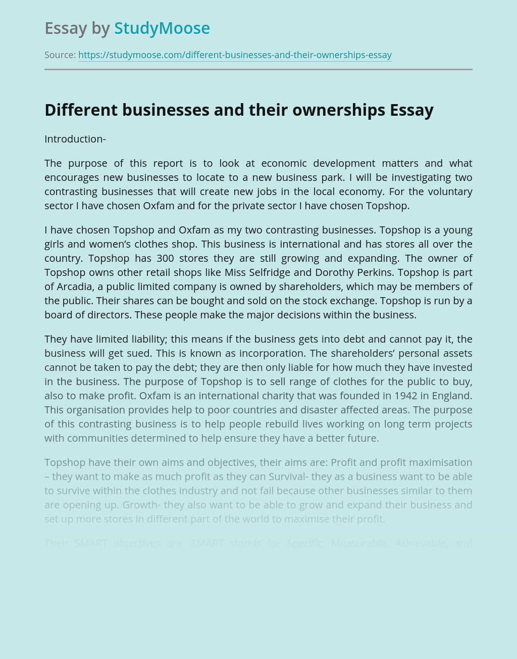 Different businesses and their ownerships