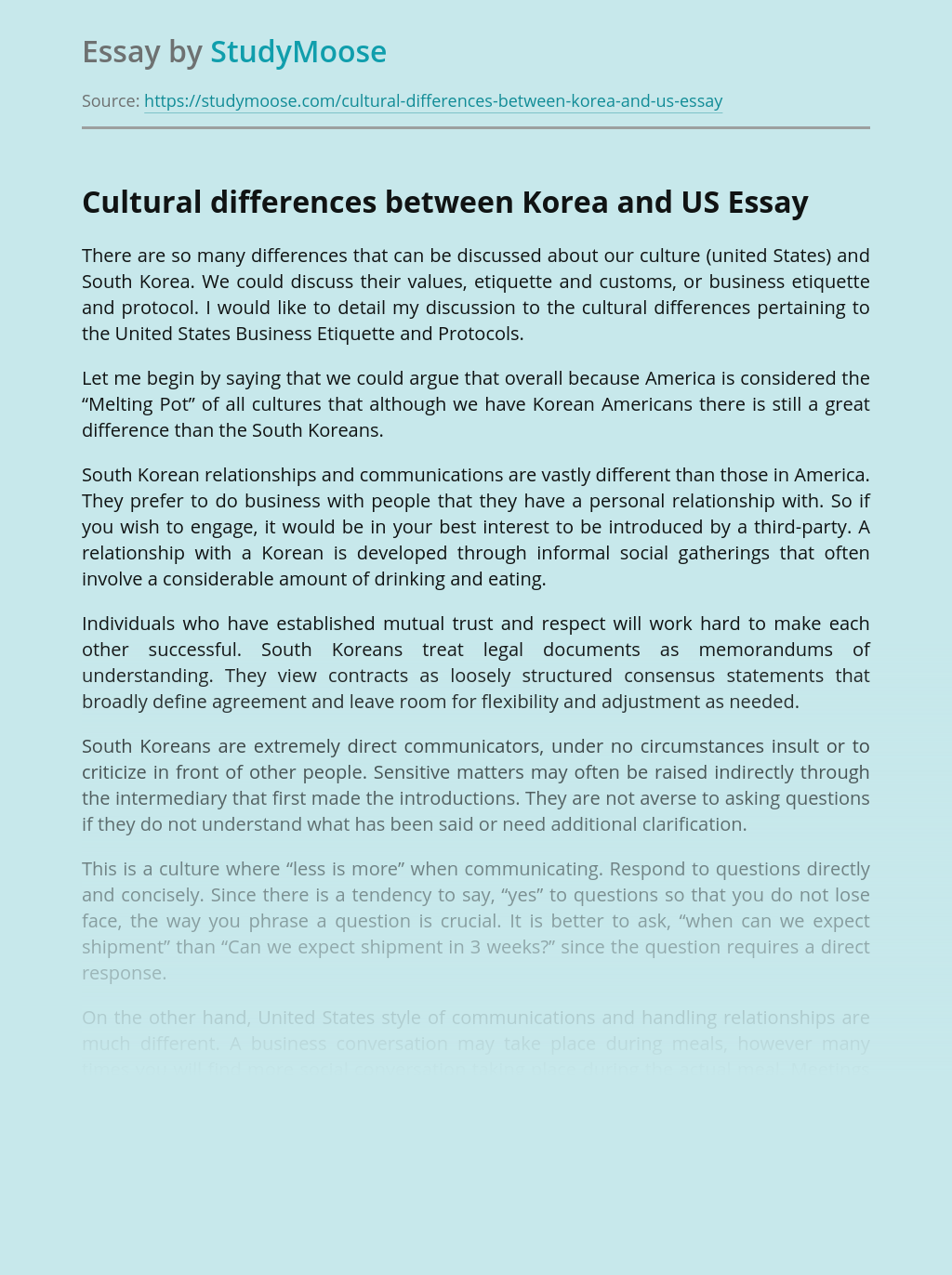 Cultural Differences Between Korea and US