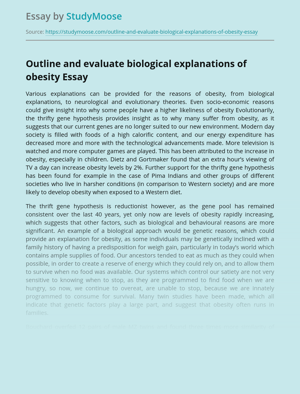 Outlining and evaluating biological explanations of obesity