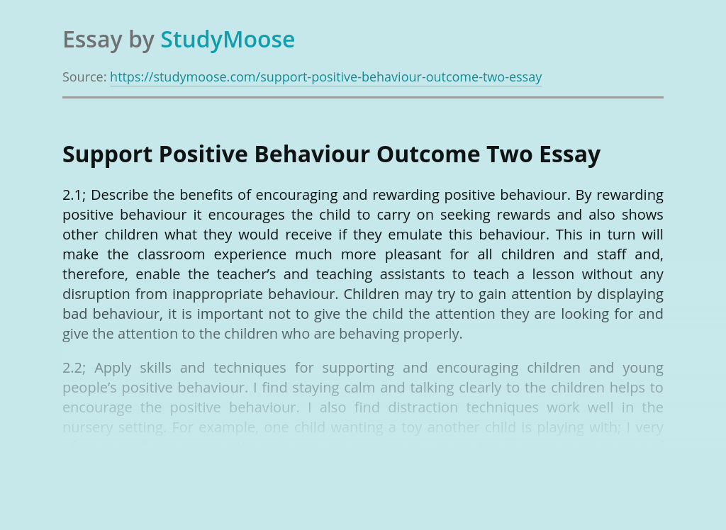 Support Positive Behaviour Outcome Two
