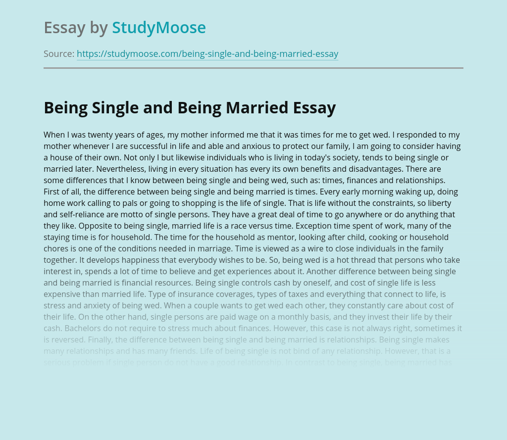 Being Single and Being Married